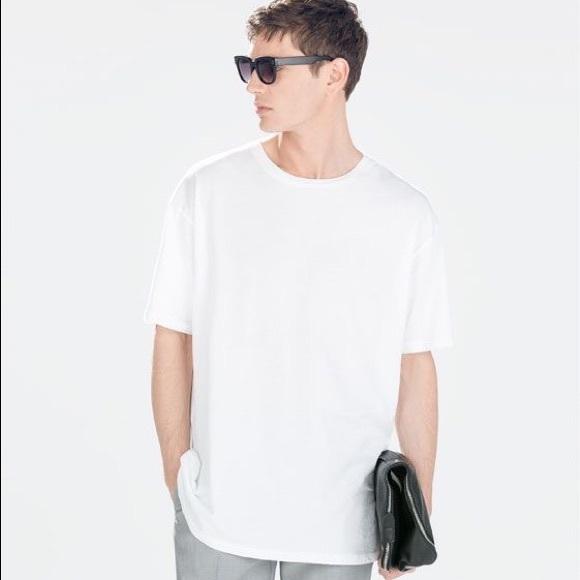Mens Zara Oversized T Shirt in White sz L